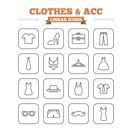 brassiere: Clothes and accessories linear icons set. Shirt with tie, pants and woman dress symbols. Hat, hanger and glasses thin outline signs. Underwear and maternity clothes. Flat square vector