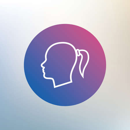 pigtail: Head sign icon. Female woman human head with pigtail symbol. Icon on blurred background. Vector