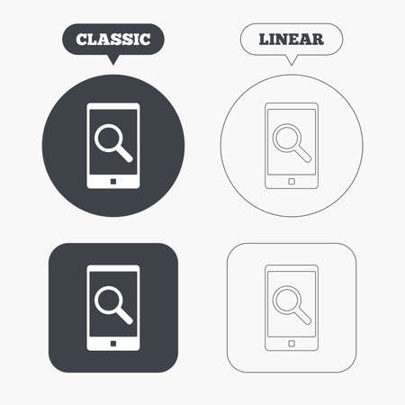 phone symbol: Search in Smartphone sign icon. Find in phone symbol. Classic and line web buttons. Circles and squares. Vector