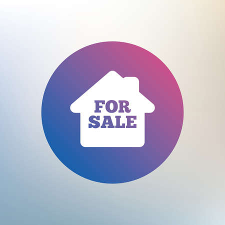for sale sign: For sale sign icon. Real estate selling. Icon on blurred background. Vector