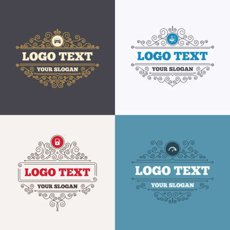 automatic transmission: Flourishes calligraphic emblems. Transport icons. Car tachometer and automatic transmission symbols. Petrol or Gas station sign. Luxury ornament lines. Vector Illustration