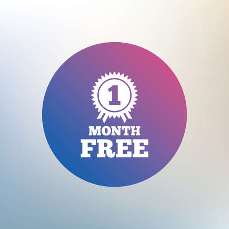 offer icon: First month free medal with ribbon sign icon. Special offer symbol. Icon on blurred background. Vector