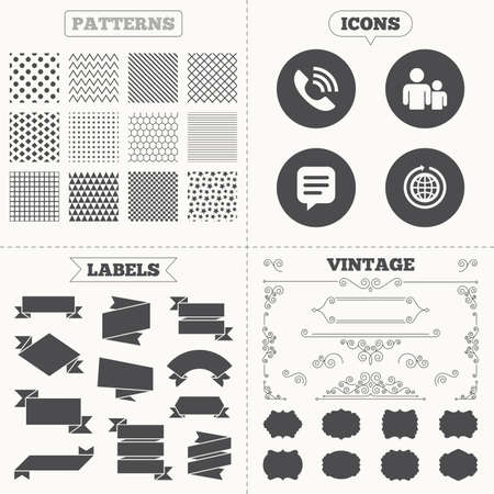 rang: Seamless patterns. Sale tags labels. Group of people and share icons. Speech bubble and round the world arrow symbols. Communication signs. Vintage decoration. Vector Illustration