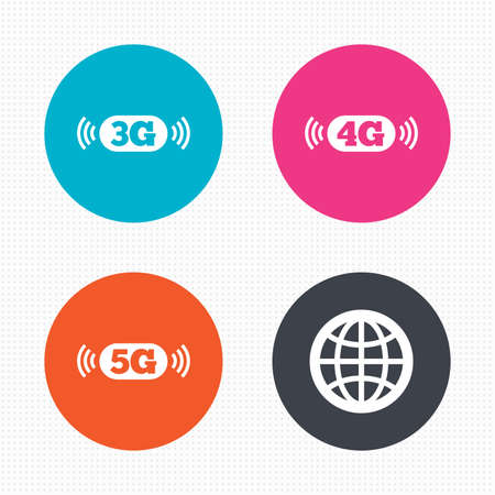 3g: Circle buttons. Mobile telecommunications icons. 3G, 4G and 5G technology symbols. World globe sign. Seamless squares texture. Vector Illustration