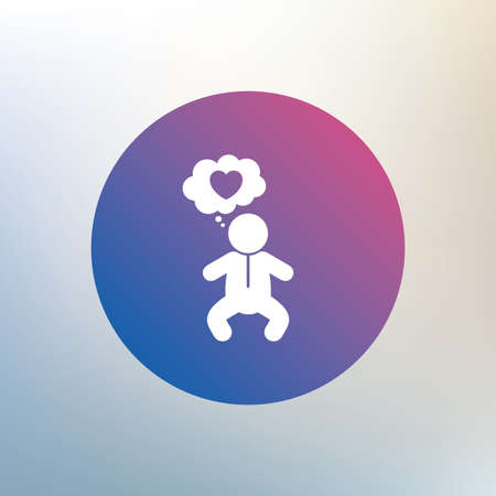 crawlers: Baby infant think about love sign icon. Toddler boy in pajamas or crawlers body symbol. Icon on blurred background. Vector Illustration