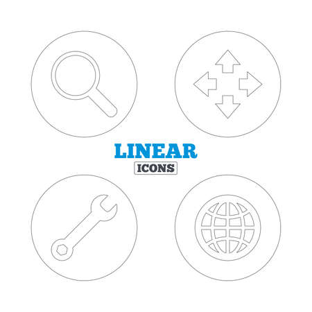 fullscreen: Magnifier glass and globe search icons. Fullscreen arrows and wrench key repair sign symbols. Linear outline web icons. Vector Illustration