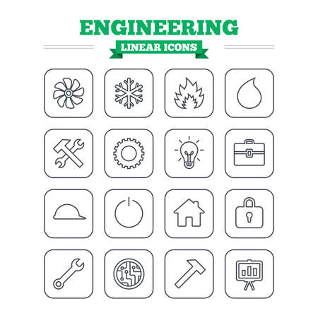 lamp outline: Engineering linear icons set. Ventilation, heat and air conditioning symbols. Water supply, repair service and circuit board thin outline signs. Lamp, house and locker. Flat square vector Illustration