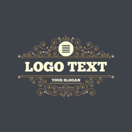 the view option: List sign icon. Content view option symbol. Flourishes calligraphic ornament. Vector