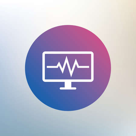 heart beats: Cardiogram monitoring sign icon. Heart beats symbol. Icon on blurred background. Vector Illustration