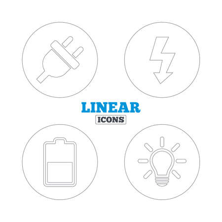 lamp outline: Electric plug icon. Light lamp and battery half symbols. Low electricity and idea signs. Linear outline web icons. Vector