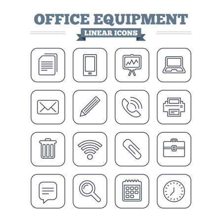 computer printer: Office equipment linear icons set. Computer, printer and smartphone. Wi-fi, chat speech bubble and copy documents. Presentation board, paperclip with pencil and magnifying glass. Thin outline signs. Flat square vector Illustration