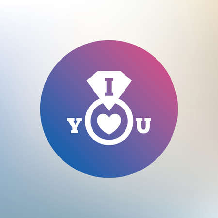 i love you sign: I Love you sign icon. Valentines day symbol. Icon on blurred background. Vector Illustration