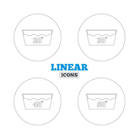 washable: Iconos de lavado. Lavable a m�quina a 20, 30, 40 y 50 grados s�mbolos. Lavadero con signos de lavander�a. Iconos de la web de contorno lineales. Vector