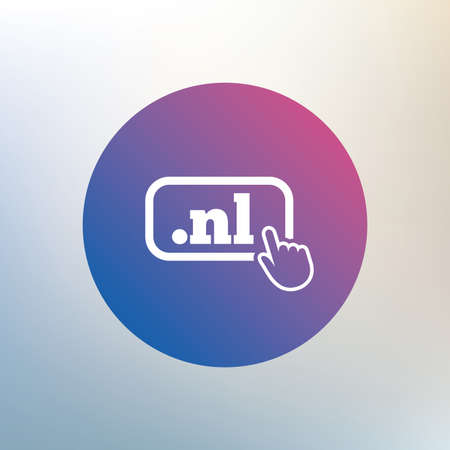 nl: Domain NL sign icon. Top-level internet domain symbol with hand pointer. Icon on blurred background. Vector Illustration