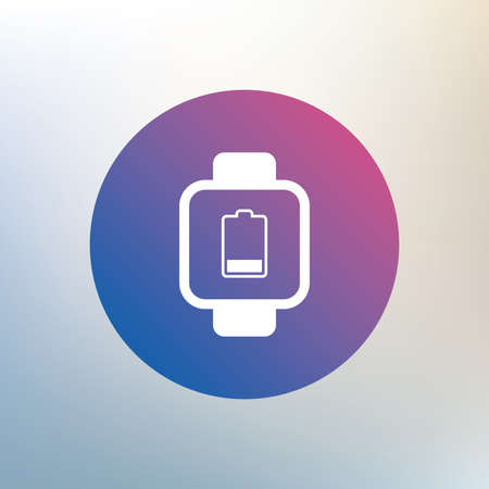 low battery: Smart watch sign icon. Wrist digital watch. Low battery energy symbol. Icon on blurred background. Vector