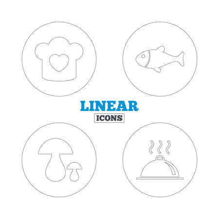 boletus: Chief hat with heart and cooking pan icons. Fish and boletus mushrooms signs. Hot food platter serving symbol. Linear outline web icons. Vector Illustration