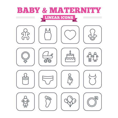 nipple man: Baby and Maternity linear icons set. Toddler, diapers and child footprint symbols. Heart, birthday cake and pacifier thin outline signs. Pregnant woman, couple and air balloons. Flat square vector