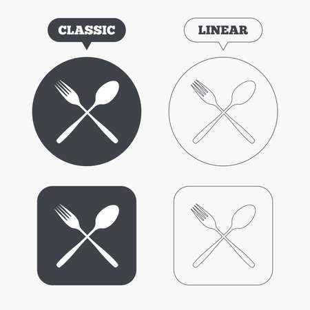 crosswise: Eat sign icon. Cutlery symbol. Fork and spoon crosswise. Classic and line web buttons. Circles and squares. Vector