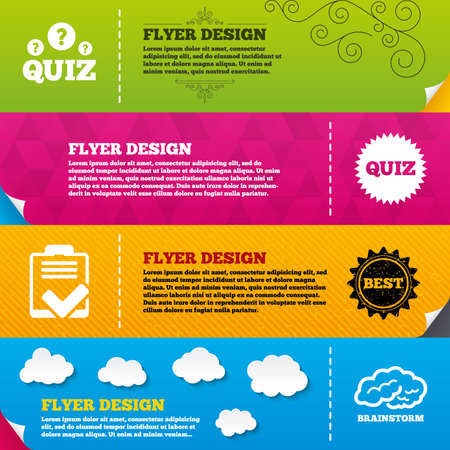Flyer brochure designs. Quiz icons. Brainstorm or human think. Checklist symbol. Survey poll or questionnaire feedback form. Questions and answers game sign. Frame design templates. Vector