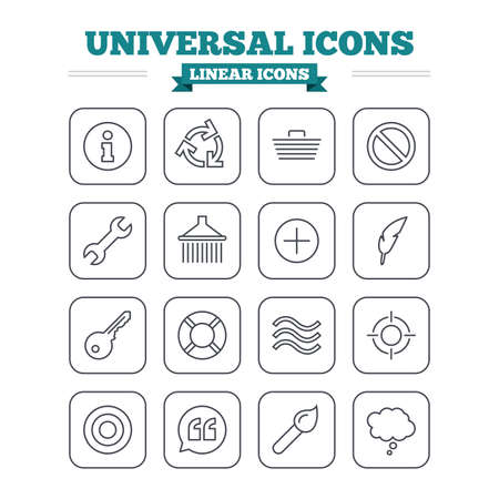 rubbish cart: Universal linear icons set. Information, shopping basket and shower. Repair tool, home key and brush. Comic speech bubble, target aim and quotes. Thin outline signs. Flat square vector Illustration
