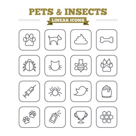 excrement: Icone animali e insetti lineari set. Zampa del cane. Zampa del gatto con le frizioni. Bone, feci escrementi e la vaccinazione. Miele, api e miele di favo. Segni contorno sottili. Piatto vettoriale quadrato