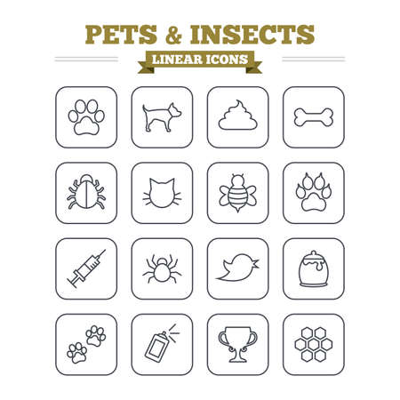 Pets and Insects linear icons set. Dog paw. Cat paw with clutches. Bone, feces excrement and vaccination. Honey, bee and honey comb. Thin outline signs. Flat square vector