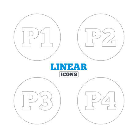 second floor: Car parking icons. First, second, third and four floor signs. P1, P2, P3 and P4 symbols. Linear outline web icons. Vector Illustration