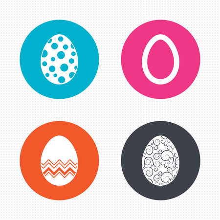 pasch: Circle buttons. Easter eggs icons. Circles and floral patterns symbols. Tradition Pasch signs. Seamless squares texture. Vector