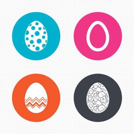 pasch: Pulsanti di cerchio. Uova di Pasqua icone. Cerchi e modelli simboli floreali. Tradizione segni Pasqua. Seamless piazze trama. Vettore
