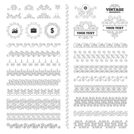 vintage ornament: Vintage ornaments. Flourishes calligraphic. Business icons. Graph chart and case signs. Dollar currency and gear cogwheel symbols. Invitations elements. Vector
