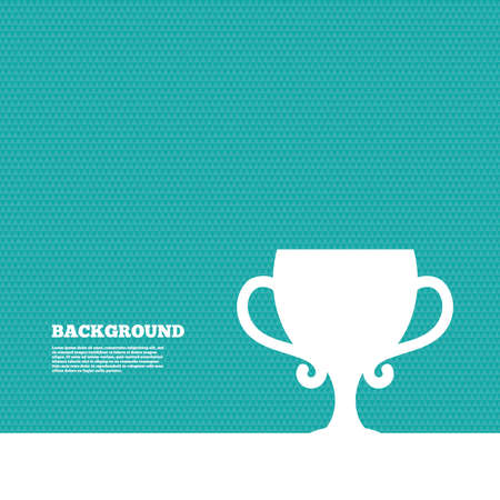 winner: Background with seamless pattern. Winner cup sign icon. Awarding of winners symbol. Trophy. Triangles green texture. Vector
