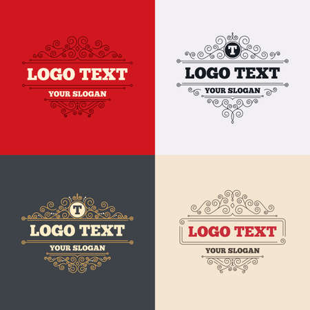 t document: Royal flourishes calligraphic. Text edit sign icon. Letter T button. Luxury ornament lines. Vector