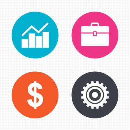 Cirkel knoppen. Bedrijfs pictogrammen. Grafiekgrafiek en case borden. Dollar valuta en versnelling tandrad symbolen. Naadloze pleinen textuur. Vector