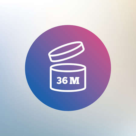 36: After opening use 36 months sign icon. Expiration date. Icon on blurred background. Vector Illustration