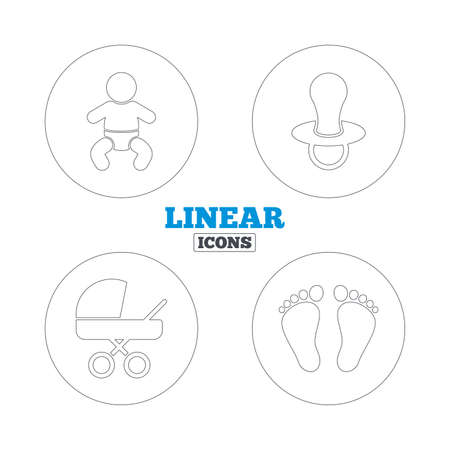 diapers: Baby infants icons. Toddler boy with diapers symbol. Buggy and dummy signs. Child pacifier and pram stroller. Child footprint step sign. Linear outline web icons. Vector