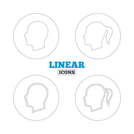 pigtail: Head icons. Male and female human symbols. Woman with pigtail signs. Linear outline web icons. Vector Illustration