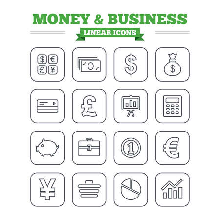 cashless: Money and business linear icons set. Cash and cashless money. Usd, eur, gbp and jpy currency exchange. Presentation, calculator and shopping cart symbols. Thin outline signs. Flat square vector Illustration