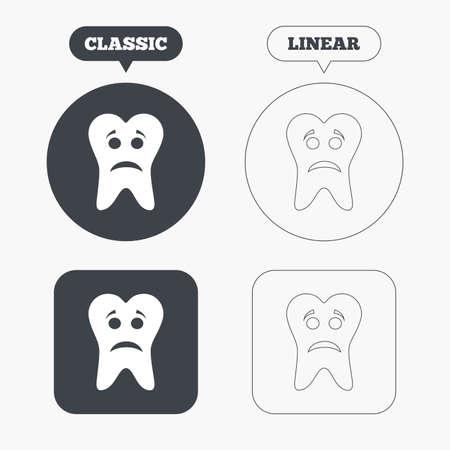 unhealthy: Diente icono de signo cara triste. S�mbolo Aching diente. Dientes saludables. Botones cl�sicos y l�nea web. C�rculos y cuadrados. Vector