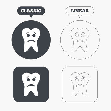 aching: Tooth sad face sign icon. Aching tooth symbol. Unhealthy teeth. Classic and line web buttons. Circles and squares. Vector Illustration