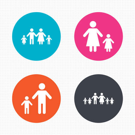 care allowance: Circle buttons. Large family with children icon. Parents and kids symbols. One-parent family signs. Mother and father divorce. Seamless squares texture. Vector Illustration