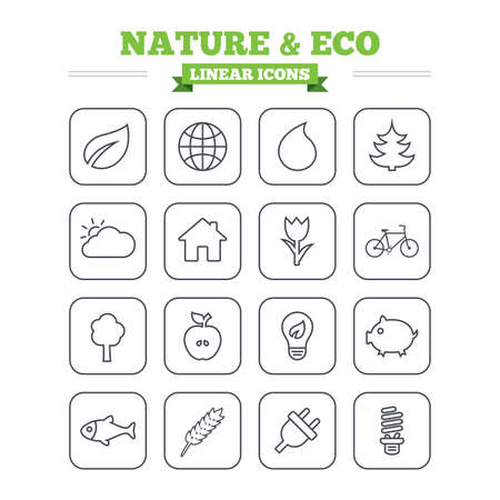 sliced tree: Nature and Eco linear icons set. Trees, leaf and tulip or rose flower. Planet and water drop. Energy saving lamp, electric plug and house building. Thin outline signs. Flat square vector