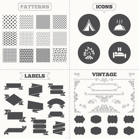 breakfast in bed: Seamless patterns. Sale tags labels. Hot food, sleep, camping tent and fire icons. Hotel or bed and breakfast. Road signs. Vintage decoration. Vector