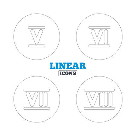 ancient rome: Roman numeral icons. 5, 6, 7 and 8 digit characters. Ancient Rome numeric system. Linear outline web icons. Vector