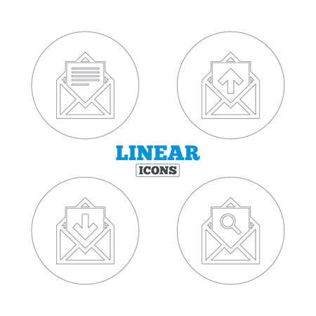 inbox: Mail envelope icons. Find message document symbol. Post office letter signs. Inbox and outbox message icons. Linear outline web icons. Vector