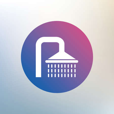 Shower sign icon. Douche with water drops symbol. Icon on blurred background. Vector