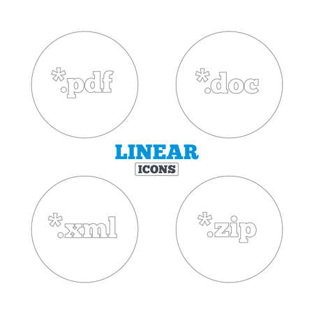 extensible: Document icons. File extensions symbols. PDF, ZIP zipped, XML and DOC signs. Linear outline web icons. Vector