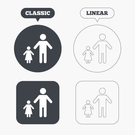 family with one child: One-parent family with one child sign icon. Father with daughter symbol. Classic and line web buttons. Circles and squares. Vector Illustration