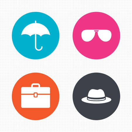 business case: Circle buttons. Clothing accessories icons. Umbrella and sunglasses signs. Headdress hat with business case symbols. Seamless squares texture. Vector