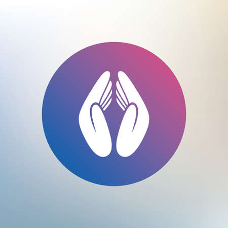 religion: Pray hands sign icon. Religion priest faith symbol. Icon on blurred background. Vector
