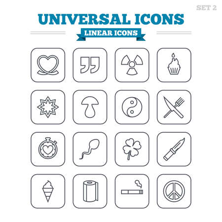 spermatozoa: Universal linear icons set. Quotes, ribbon heart and cake. Clover, mushroom and ice cream. Smoking, knife and fork. Thin outline signs. Flat square vector Illustration